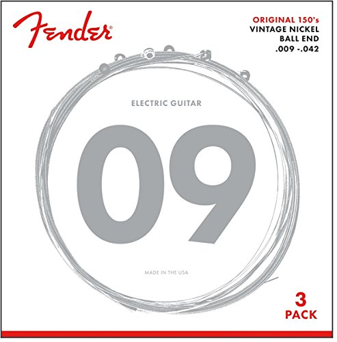 """Fender 073-0150-309 E-Gitarren Saiten """"150L 3er, Pack Pure Nickel, 009/042"""""""