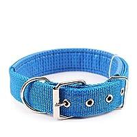 Ecloud Shop Duradero y cómodo para mascotas collar de perro sólido clásico collar de perro de nylon poliéster básico 2.5 * 55cm Azul
