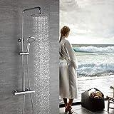 Homelody Duscharmatur mit Thermostat Duschsystem Regendusche Duschset mit Handbrause und Duschkopf Kopfbrause Rainshower