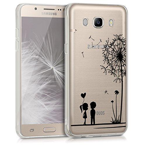 kwmobile Hülle für Samsung Galaxy J5 (2016) DUOS - TPU Silikon Backcover Case Handy Schutzhülle - Cover klar Pusteblume Love Design Schwarz Transparent (Zuneigung Silikon)