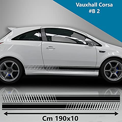 Vauxhall Corsa Side Racing Stripes Decal Graphics /Tuning Car Size 190x10 Cm (BLACK)