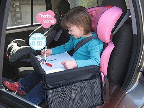 MuStone, vassoio da viaggio per bambini, impermeabile, portaoggetti per auto per giocare seduti sul seggiolino, anche per treno o aereo