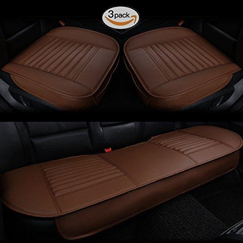 2 Pacco Coprisedile Anteriore HCMAX Quattro Stagioni Traspirante Cuscino del Sedile Interno Auto Copertina Tampone Stuoia Pelle Sintetica Carbone di Bamb/ù