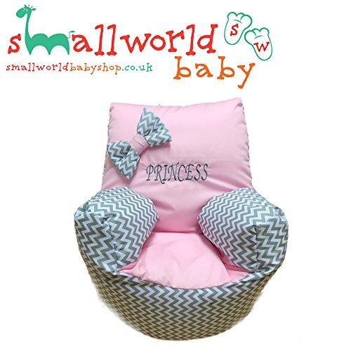 personalisierbar grau Zigzag Pink Kleinkinder Sitzsack
