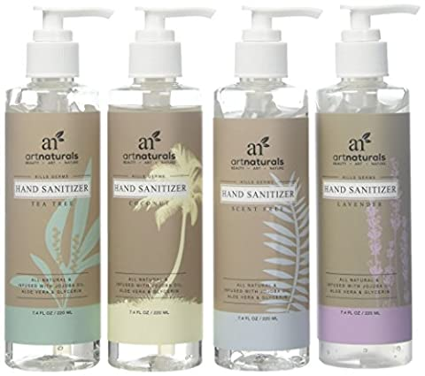 ArtNaturals Natural Hand Sanitizer Gel – (4 x 220ml) – Made with Essential Oils, Jojoba Oil, Aloe Vera & Glycerin Infused Formula - Set Includes Scent Free, Coconut, Lavender and Tea