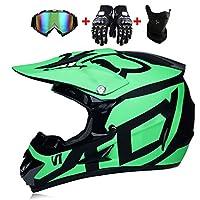 خوذة Motocross للبالغين مع نظارات قفازات وقناع معتمد من DOT للدراجات النارية ATV دراجة نارية مدببة للطرق الوعرة من الاصطدام على الطريق الوعرة MX خوذة كاملة الوجه (52-59 سم) -LWAJ, ABS, S=52-54cm