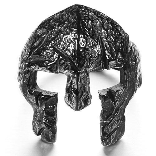 mendino Herren Edelstahl Viking Ring Griechischer Krieger Helm Knight Spartan Maske Band Punk Silber Farbe mit 1?x Samtbeutel - 67 (21.3)