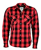 BOSMOTO Herren Lumberjacke Hemd Mit Protektoren (XL, ROT)