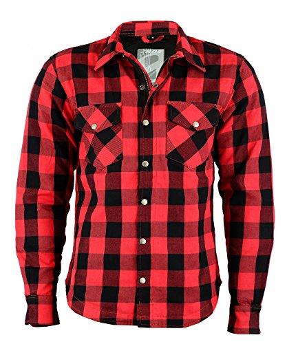 BOSMOTO Herren Lumberjacke Hemd Mit Protektoren (XXL, ROT) - Motorrad Off-road Jacke