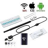 Ohr-Reinigungs-Endoskop-Kamera, Visueller Ohr-USB-Löffel, Iphone Android WIFI Otoskop-Ohr-Gesundheits-Inspektions-Videokamera,Black