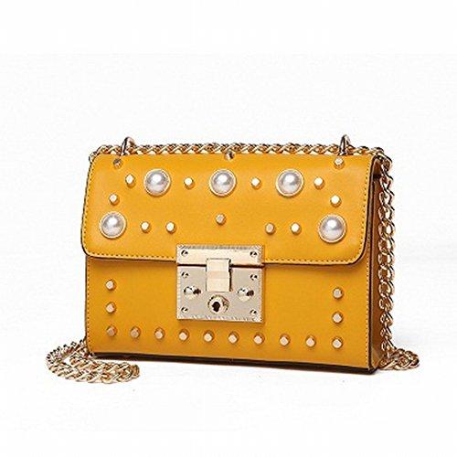 Weibliche Perlenkette Kleine Tasche Tag Schulter Messenger Tasche Gelb