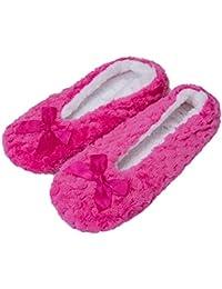 La Sra. Fralosha interiores uso zapatillas de suela antideslizante, el calor W / ABS (Marrón)
