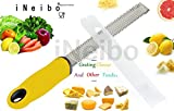 iNeibo Kitchen Cheese Grater & Lemon Zester - Sharp 18/8 Stainless Steel Blade - Colorful Ergonomic Handle - Easy To Grate Or Zest Lemon, Orange, Citrus, Cheese, Chocolate, Nuts (yellow)