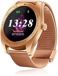 RG Inteligente a prueba de agua Reloj Bluetooth pulsera de los deportes de la cámara remota Health Monitor para Android IOS (Reloj de acero del oro rosa)