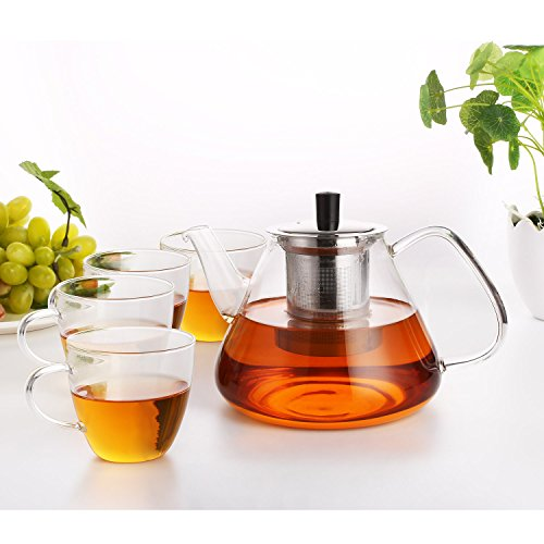 Homfa Glas Teekanne Set mit Siebeinsatz Edelstahl 1350mL Kapazität mit 4 Gläsern Hitzebeständig Transparent Glatt Beheizbar aus Borosilikatglas Tee-Set (Gusseisen Teekanne Set Mit 4 Tassen)