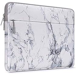 MOSISO Housse Compatible avec 13-13,3 Pouces MacBook Pro, MacBook Air, Notebook Compatible avec Poche Accessoires, Laptop Sleeve Ultra-Portable Toile Tissu Marbre Motif Sac, Blanc