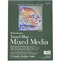 Strathmore 400 Series Toned Mixed Media Pad, 184lb Paper, 9 x 12 inches, Steel Blue, 15 sheets (462-409)