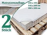 Doppelpack zum Vorteilspreis! Mikrofaser-Matratzenauflage - optimaler Schutz für Ihre Matratze – erhältlich in 3 Größen passend für handelsübliche Standard-Matratzen, 140 x 200 cm