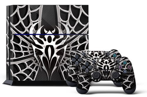 PS4 Console Design Folie Aufkleber Sticker Skin fur Sony PlayStation 4 System plus Two(2) Decals for: PS4 Dualshock Controller - Widow Maker Chrome & Black -