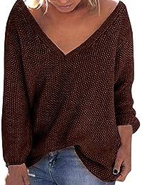 4e6f54c94ddd Strung Damen Herbst Winter Sweater Lose Langarm Sweatshirt V-Ausschnitt Pullover  Jumper Frauen Casual Bluse Mode Outwear…