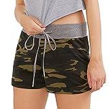 Shorts Damen Sommer Luckycat Europäische und amerikanische Camouflage Shorts elastische Taille dünne Beinhosen weiblich Shorts Hose Sommerhosen Pants Hosen (Schwarz, Small)