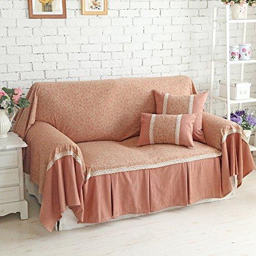 DD FWER Amerikanische slipcover Sofa, Sofa Abdeckung volle Deckung Landhausstil thicked Stoff mit Blumenmuster Sofakissen - 180 x 260 cm (71 x 102 cm)
