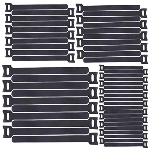 Honyear 50 Stück Klettband Kabelbinder in 3 Verschiedene Größen——265mm/200mm/160mm——Spezielles Design Klettverschluss Kabelbinder Schwarz, Kabel Klettband
