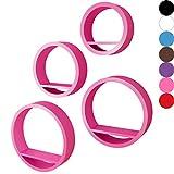 Miadomodo - Juego de estantes de Pared (en Forma Redonda, 4 Unidades) en Color Rosa