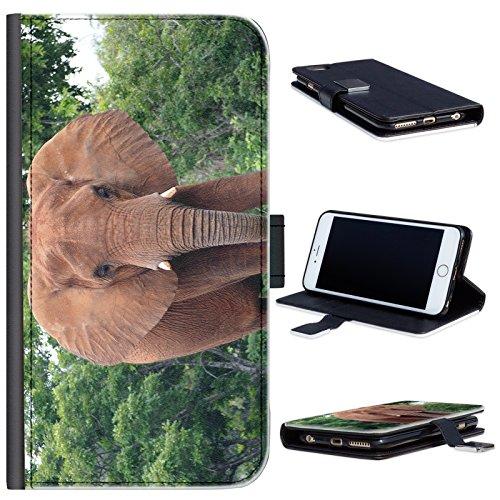 Elefant mit Stoßzähnen Motorola Moto G (2nd Gen) Leder Klapphülle Etui Handy Tasche, Deckel mit Kartenfächern, Geldscheinfach und Magnetverschluss. Motorola Moto G2 Fall (Moto G Fällen Elefant)
