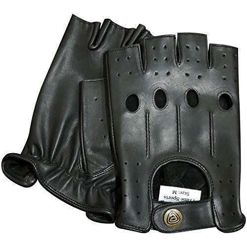 Schwarze Napa Leder (Prime Finger Weniger Fahren Handschuhe Weich Kuh Napa Leder Gewichtheben Handschuhe 309, Schwarz, X-Large)