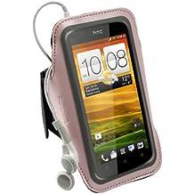 igadgitz Rosa Brazalete en Neopreno antideslizante Deporte Gymnasio Jogging para HTC One X S720e & HTC One X+ Plus Android Smartphone (NO es adecuado para HTC One M7)