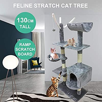 Blackpoolaluk Multi Cat Tree Stable Cat Scratch Posts Function Cat Climbing Tower Toys with Cat Home for Indoor/Outdoor Cats Activity from Blackpoolaluk