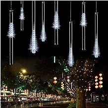 HanLuckyStars 20m/220V Tubo Meteor LED Luces de Cuerda blanco ,Ideal para Fiesta de Navidad/Boda/Velada,Árbol de Navidad y calle
