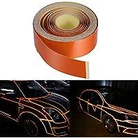 vorcool 2cm x 5mt Ornamentales tira autoadhesiva cinta adhesiva reflectante para Auto Moto Rueda DIY Decoración (Naranja)