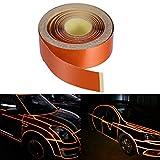Vorcool 2 cm x 5 m Bande décorative autocollante réfléchissante pour voiture moto DIY Décor (Orange)