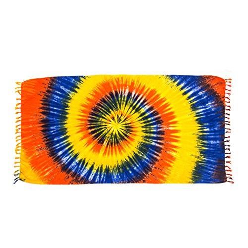 ManuMar Damen Sarong | Pareo Strandtuch | Leichtes Wickeltuch mit Fransen-Quasten (L: 115 x 225 cm, Rot Gelb Blau) -