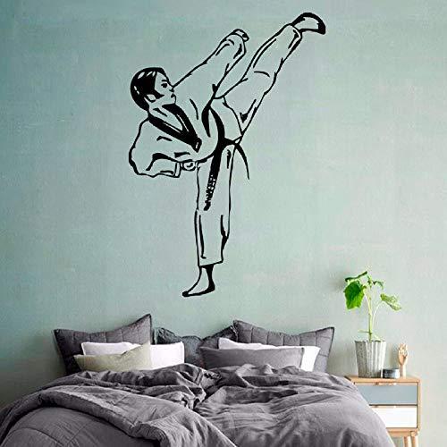 YuanMinglu Decalcomania da Muro di Arti Marziali Taekwondo Gym Sports Home Interior Art Vinile Adesivo Nero 36X25cm
