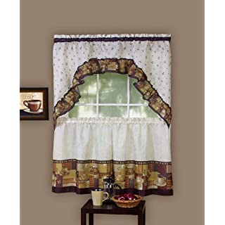Achim Home Furnishings Coffee Tier and Swag Window Treatment Set, 57 by 36-Inch, Brown