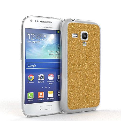 EAZY CASE Hülle für Samsung Galaxy S3 Mini Schutzhülle mit Glitzerrückseite, Ultra dünn I Silikon Slimcover, Handyhülle, TPU Hülle/Soft Case, Silikonhülle, Backcover Quartz Design, Gold