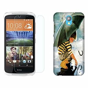 Design Worlds Tempered Glass + Back Cover Combo For HTC Desire 526G+ Dual Sim