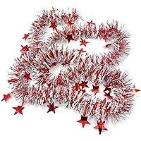 LUFA 2m Adornos navideños con estrella Guirnalda colorida de la cinta para la decoración de los árboles de navidad
