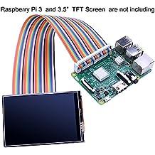 "Kuman Breadboard Jumper Wires 40pin maschio-femmina Ribbon GPIO Cable per Connection Raspberry Pi 3 2 Model B B+ w/ 3.5"" 5 inch Touch TFT Screen schermo LCD display K70"