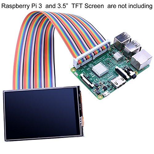 Flexible Bunt 40 Pin Stecker auf Stecker, männlich zu weiblich, Buchse auf Buchse Steckbrett Prüfkabeln Bandkabel for Connection Raspberry Pi 3.5