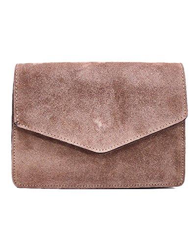 ImiLoa Ledertasche klein braun Lederhandtasche kleine Umhängetasche echt Leder Tasche Wildleder Handtasche 35-tau
