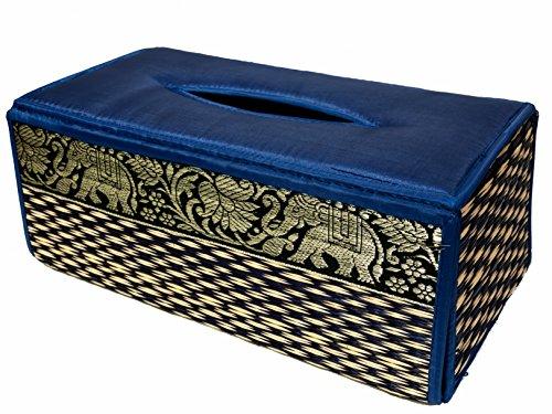 Tissue box Kosmetiktücherboxen Gewebe Kasten Abdeckung Gewebe Deckel Fall natürliche Weiden Reed ECO nachhaltiges Material und Plüsch SILK Trim Elephant Side (Blau) - Abdeckung Natürliche