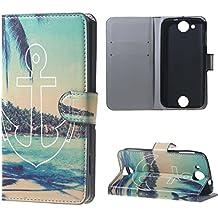 Liquid Jade Z Funda de Piel,Cartera Cuero Flip Wallet Case Cover Carcasa Funda para 5'' Acer Liquid Jade Z Smartphoe con bolsillo de tarjeta,Playa