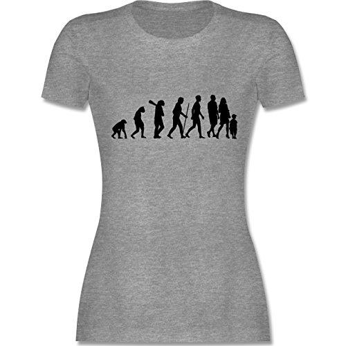 Evolution - Familie Evolution - tailliertes Premium T-Shirt mit Rundhalsausschnitt für Damen Grau Meliert