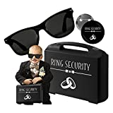 Lywedd Agent Ring Security Set (3 teilig) Ring Koffer, Brille, Anstecker - Blumenkinder Hochzeit - Ringkissen - Ring Bearer Carrying Case