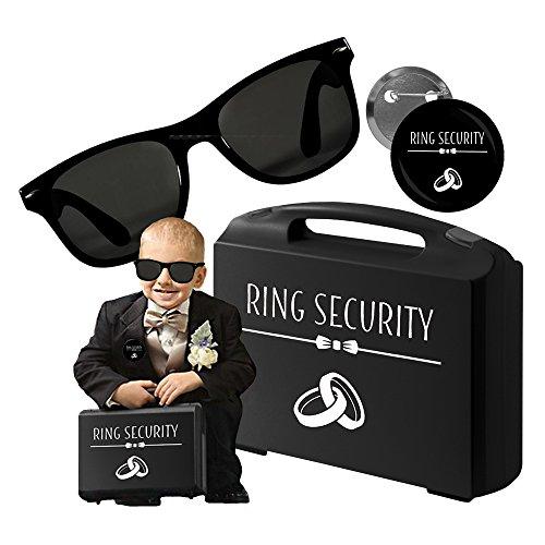 Lywedd® Agent Ring Security Set (3 teilig) Ring Koffer, Brille, Anstecker - Blumenkinder Hochzeit - Ringkissen - Ring Bearer Carrying Case