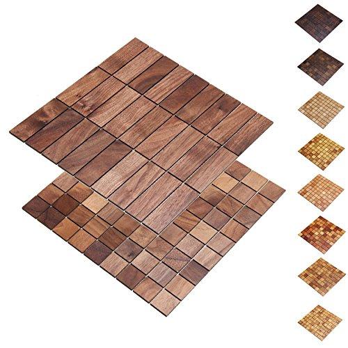 wodewa Holz WandverkleIdung Holzmosaik FlIese 28x28cm I Nussbaum I Echtholz Wandpaneele Moderne Wanddekoration Holz Holzverkleidung Fußboden Decke I 30x30mm
